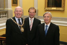 The Lord Mayor of Belfast, Councillor Jim Rodgers with Brian Goggin and Len O'Hagan.